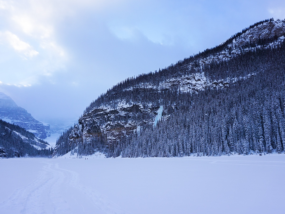 Lots of snow on Lake Louise snowshoe trail in Banff National Park