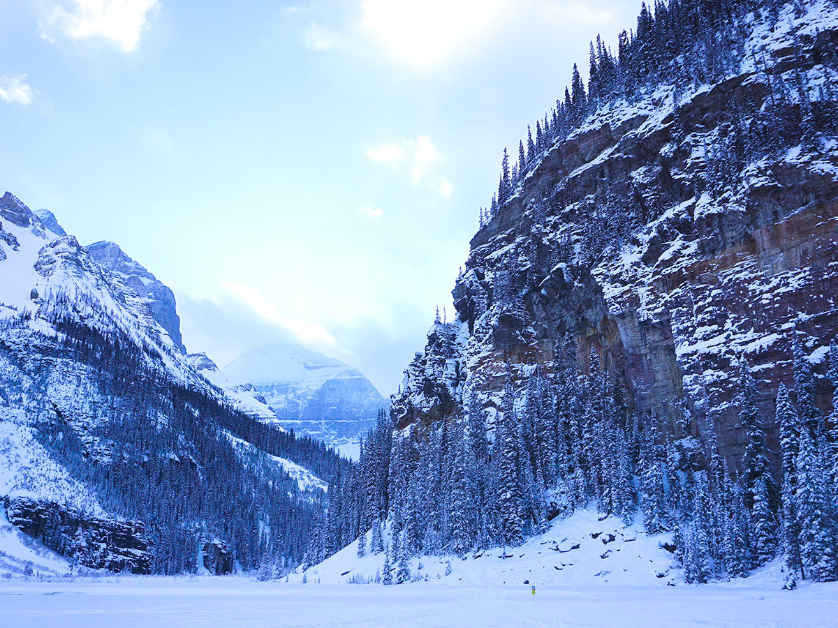 Stunning views from Lake Louise snowshoe trail in Banff National Park