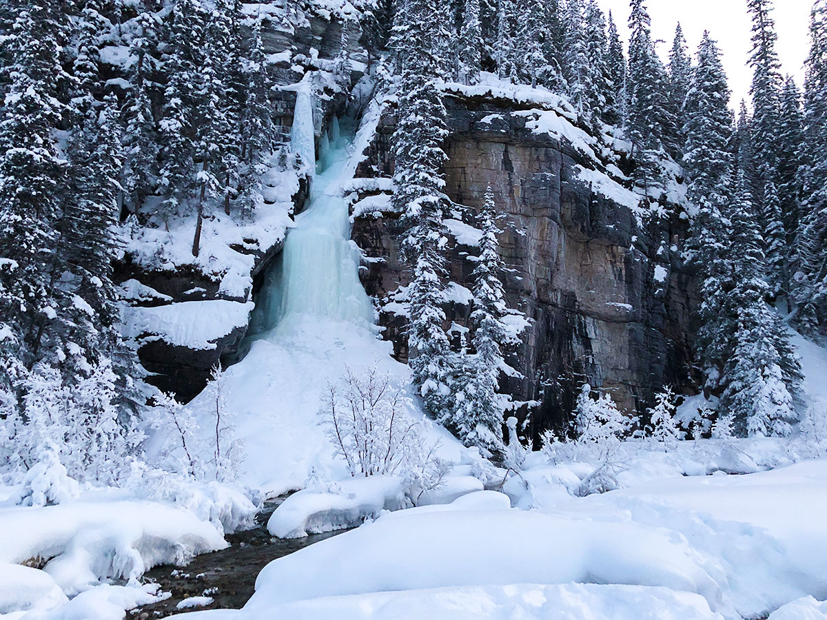 A small frozen waterfall near Lake Louise snowshoe trail in Banff National Park