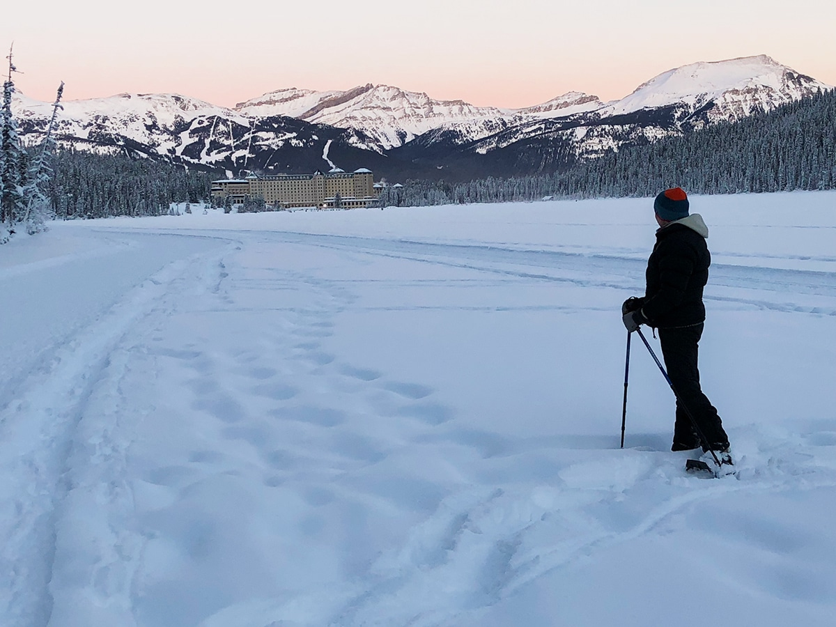 Path of Lake Louise snowshoe trail in Banff National Park