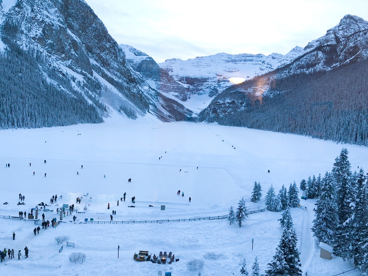 Chateau Lake Louise on winter on Lake Louise snowshoe trail in Banff National Park