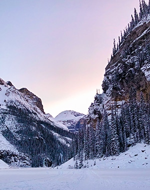 Lake Louise snowshoe trail in Banff National Park