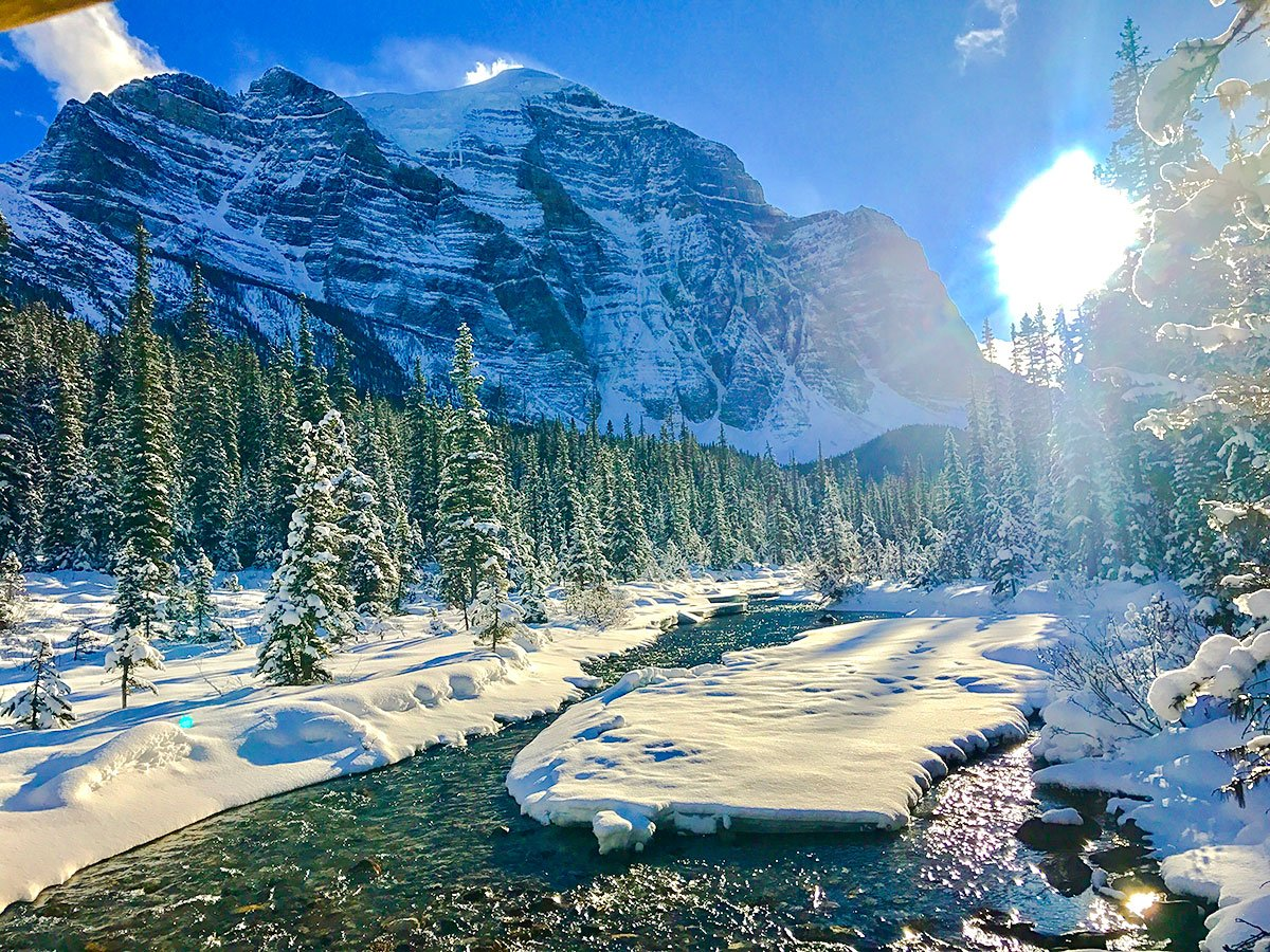 Mount Temple on Paradise Valley snowshoe trail near Lake Louise in Banff National Park