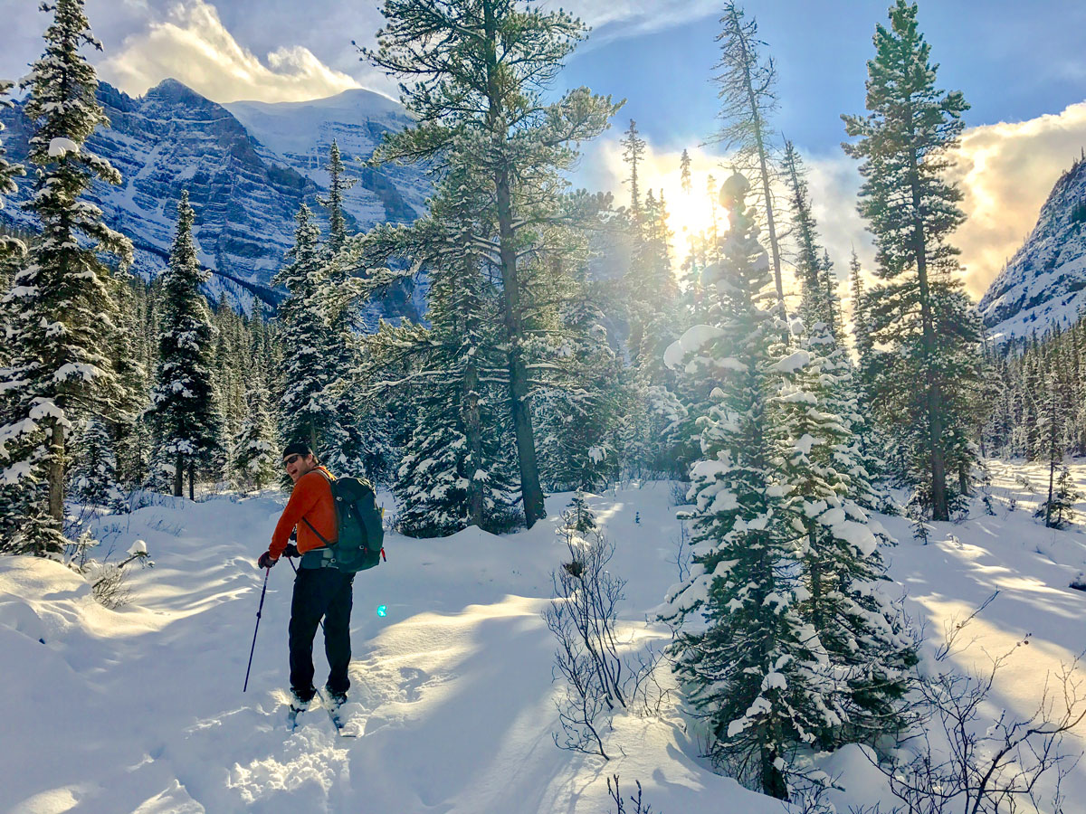 Going upon Paradise Valley snowshoe trail near Lake Louise in Banff National Park