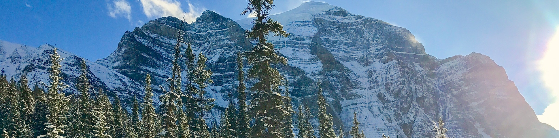 Panoramic view of the Paradise Valley snowshoe trail Banff National Park