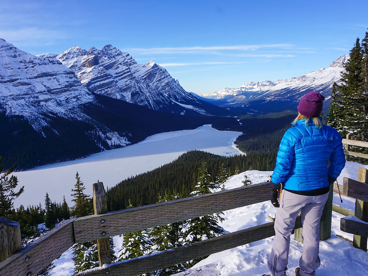 The first viewpoint on Peyto Lake Viewpoint snowshoe trail in Banff National Park