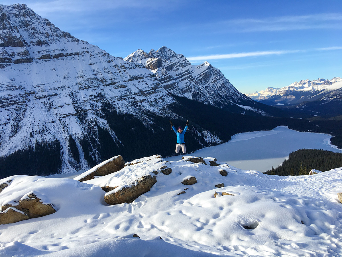 View from the second viewpoint on Peyto Lake Viewpoint snowshoe trail in Banff National Park