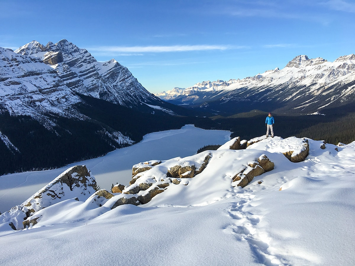 the Canadian Rockies on Peyto Lake Viewpoint snowshoe trail in Banff National Park