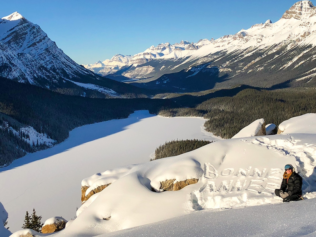 Bonne Annee on Peyto Lake Viewpoint snowshoe trail in Banff National Park