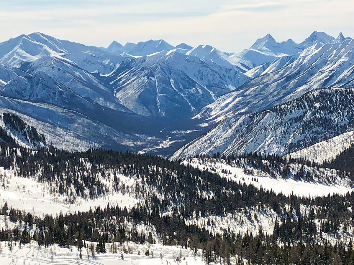 Stunning scenery from Sunshine Meadows snowshoe trail Banff National Park