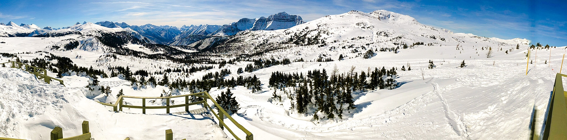 Panoramic views from the Sunshine Meadows snowshoe trail Banff National Park