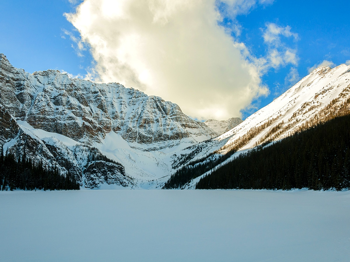 Taylor Lake on Taylor Lake and Panorama Meadows snowshoe trail in Banff National Park