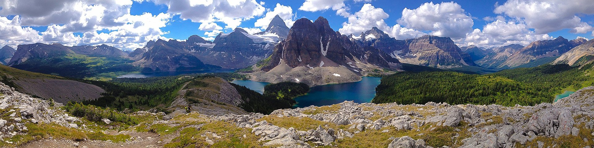 Panorama of Sunshine to Assiniboine backpacking trail in Banff National Park