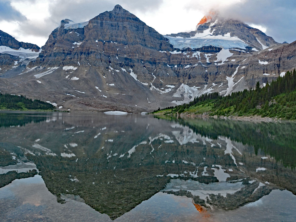 Assiniboine in clouds on Sunshine Village to Mt. Assiniboine backpacking trail in Banff National Park