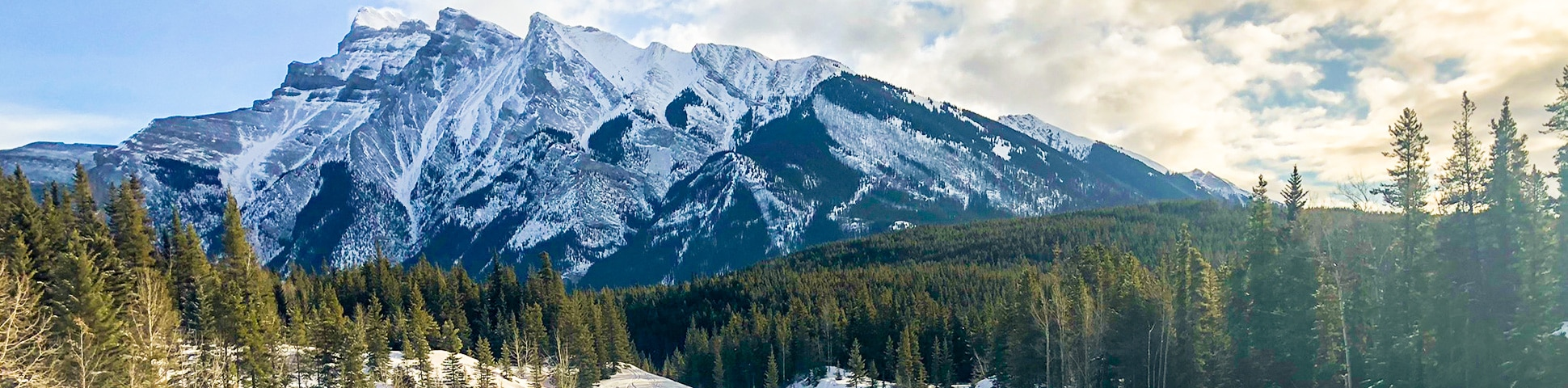 Panorama of Cascade Valley XC ski trail in Banff National Park, Alberta