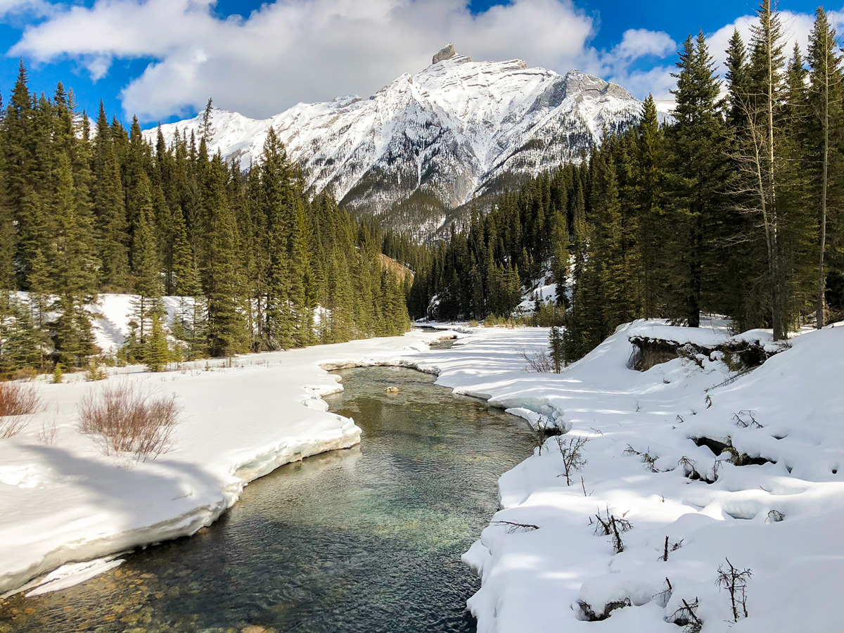 Beautiful view on Goat Creek to Banff Springs XC ski trail in Banff National Park