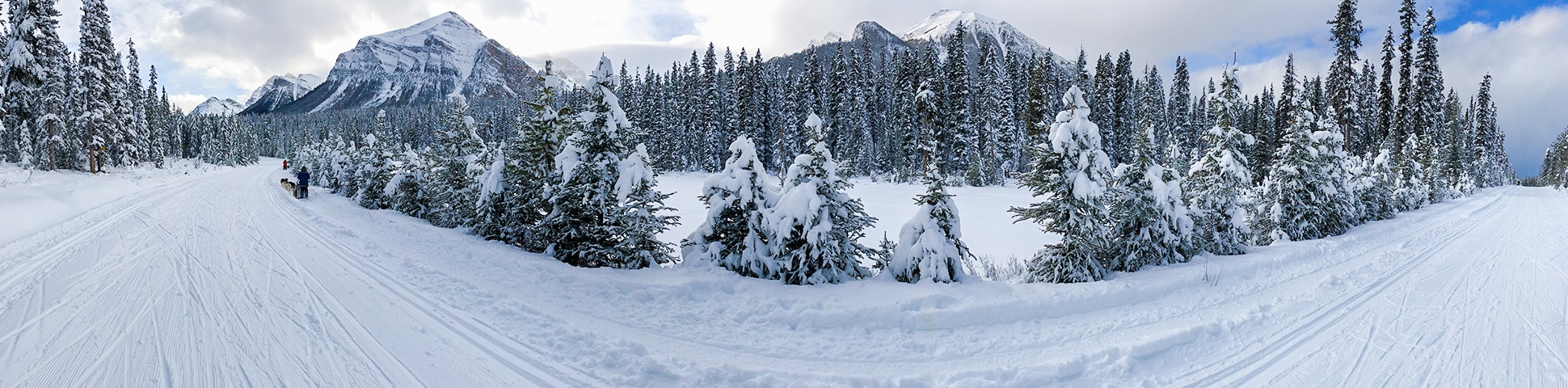 Panorama of Great Divide 1A XC ski trail in Banff National Park, Alberta