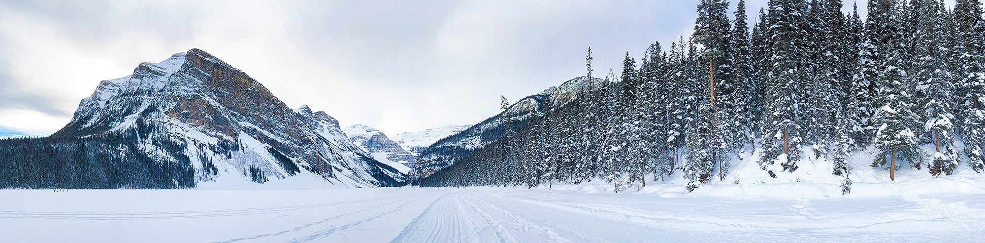 Panorama of Lake Louise Lakeshore XC ski trail in Banff National Park, Alberta