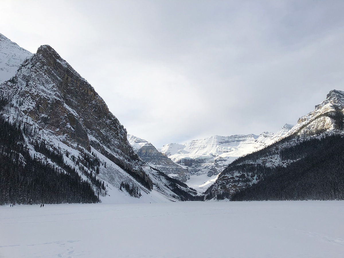 Great scenery on Lake Louise Lakeshore XC ski trail in Banff National Park
