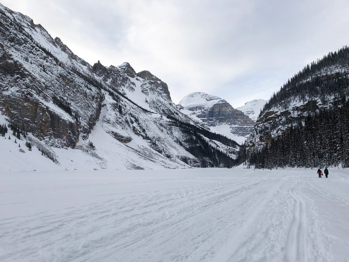 Snowy views on Lake Louise Lakeshore XC ski trail in Banff National Park