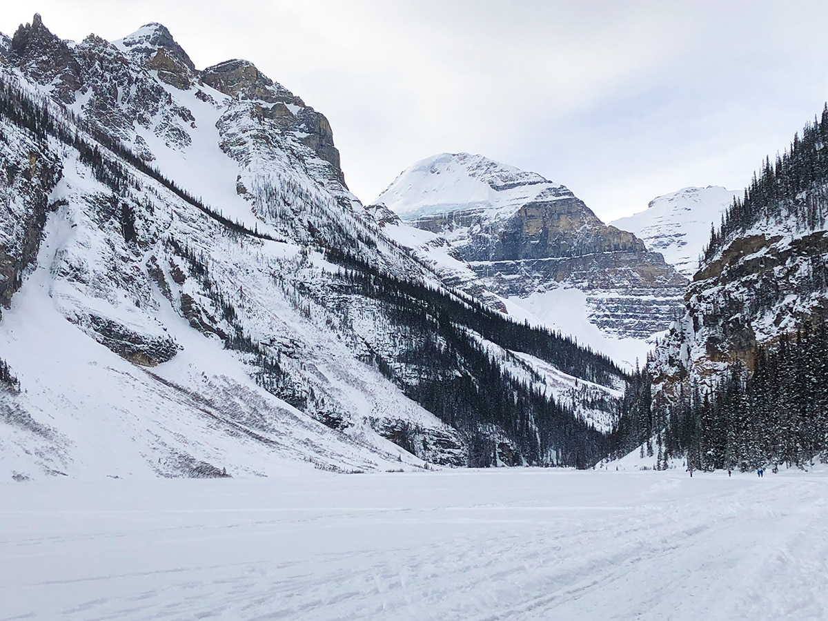 Great glacier view on Lake Louise Lakeshore XC ski trail in Banff National Park