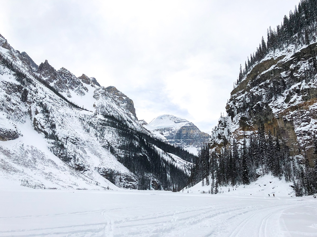 Stunning scenery on Lake Louise Lakeshore XC ski trail in Banff National Park