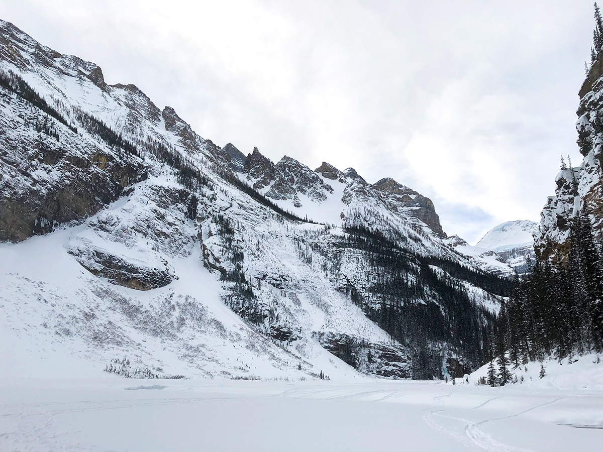 Turnaround point on Lake Louise Lakeshore XC ski trail in Banff National Park