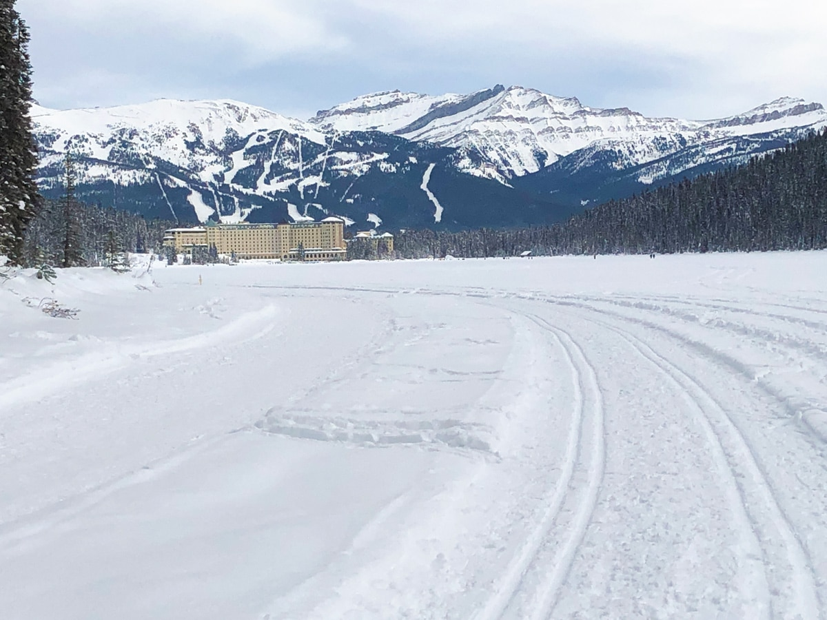 Track of Lake Louise Lakeshore XC ski trail in Banff National Park