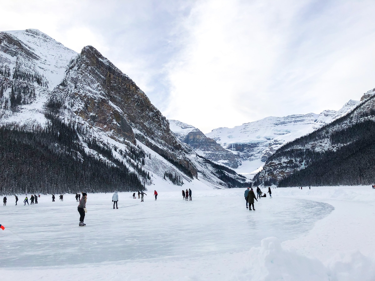 Skating on the lake along Lake Louise Lakeshore XC ski trail in Banff National Park