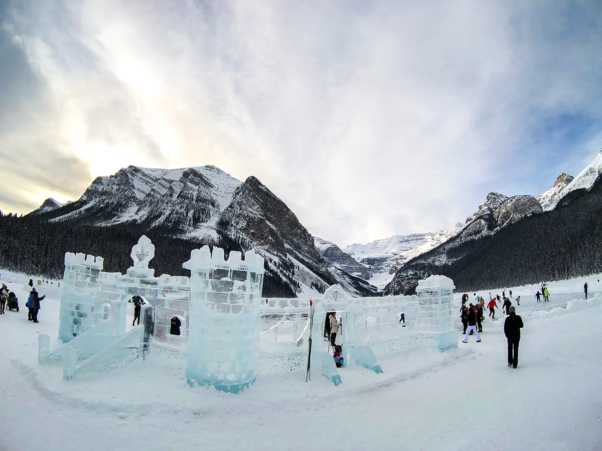 Winter ice castle on Lake Louise Lakeshore XC ski trail in Banff National Park