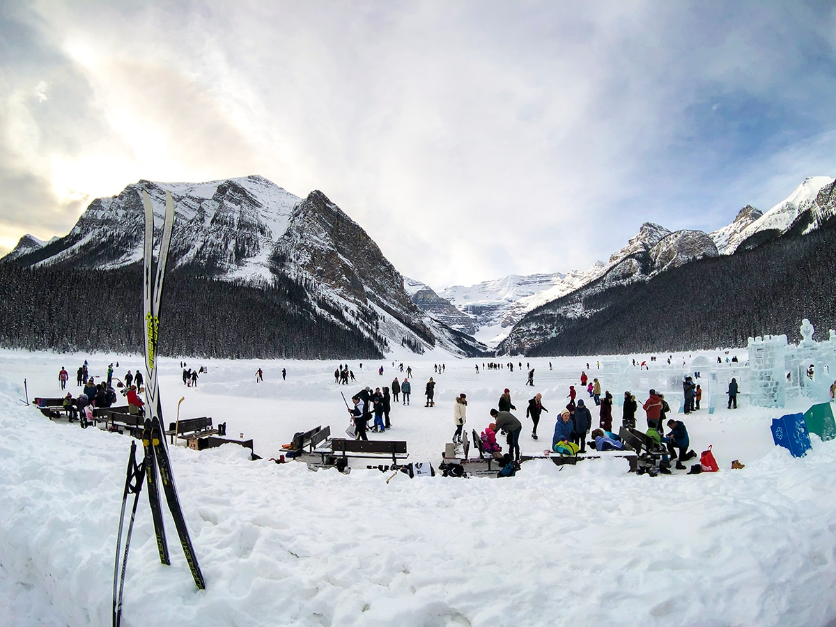 Beautiful views on Lake Louise Lakeshore XC ski trail in Banff National Park