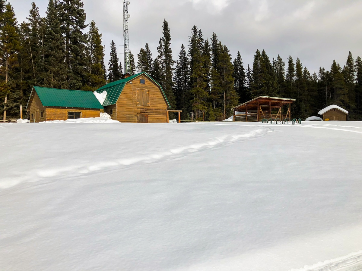 Route along the stables on Pipestone Loop XC ski trail in Lake Louise, Banff National Park