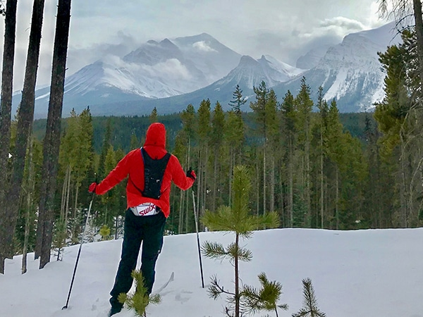 Scenery of Pipestone Loop XC ski trail in Banff National Park, Alberta