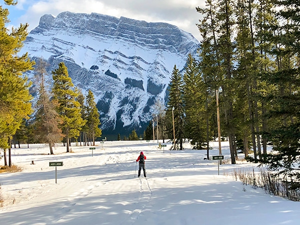 Scenery of Tunnel Mountain XC ski trail in Banff National Park, Alberta