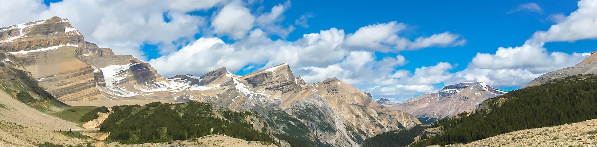 Hiking, biking and snowshoeing along Icefields Parkway in the Canadian Rockies
