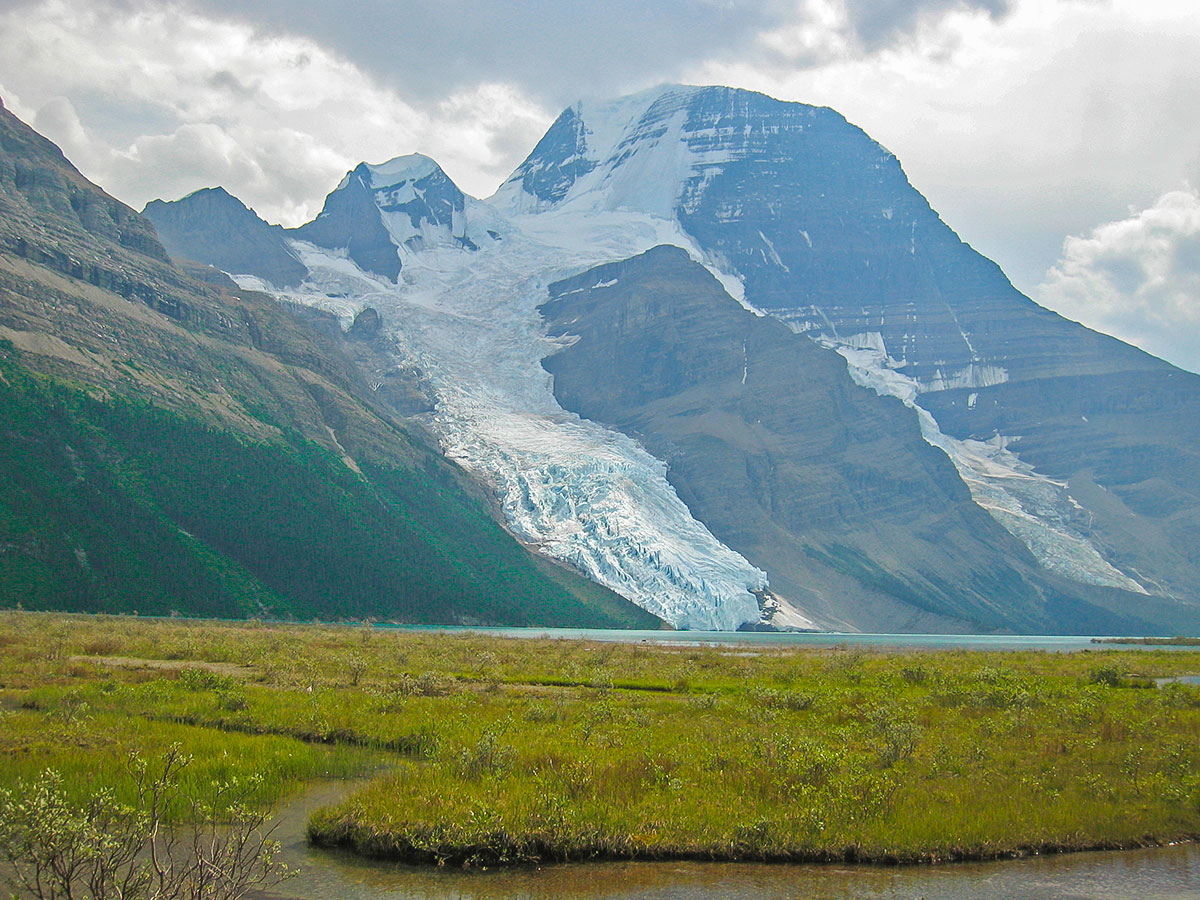 Berg Lake backpacking trail in Jasper National Park has beautiful views of Mount Robson and Berg Glacier