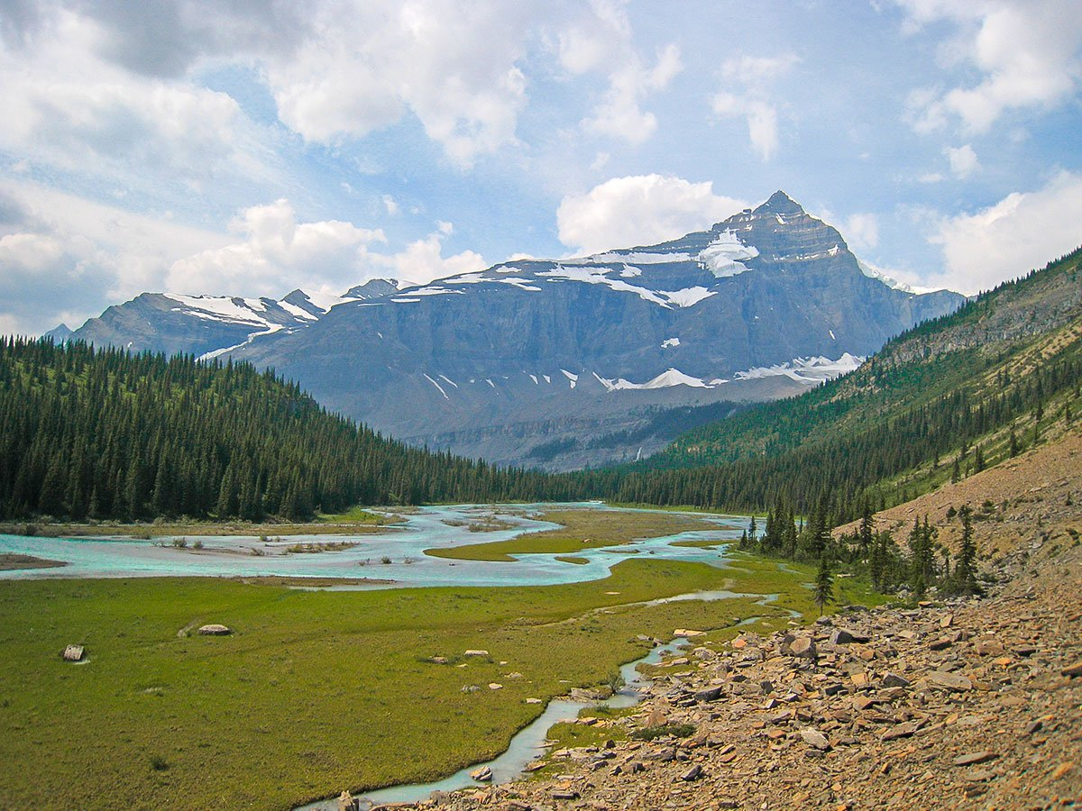 Robson River Valley on Berg Lake backpacking trail in Jasper National Park