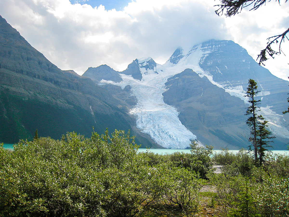 Mount Robson and Berg Glacier on Berg Lake backpacking trail in Jasper National Park