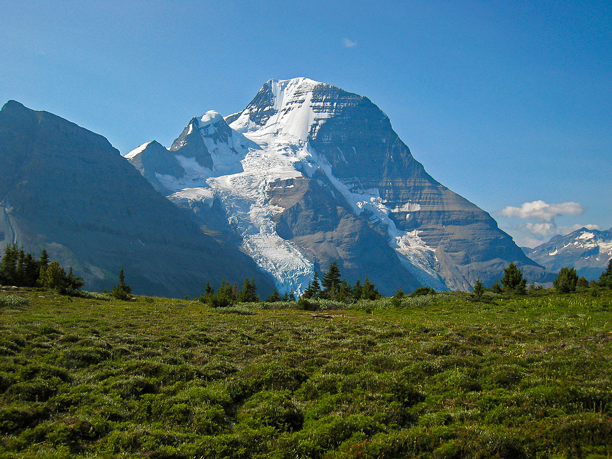 Mount Robson on Berg Lake backpacking trail in Jasper National Park