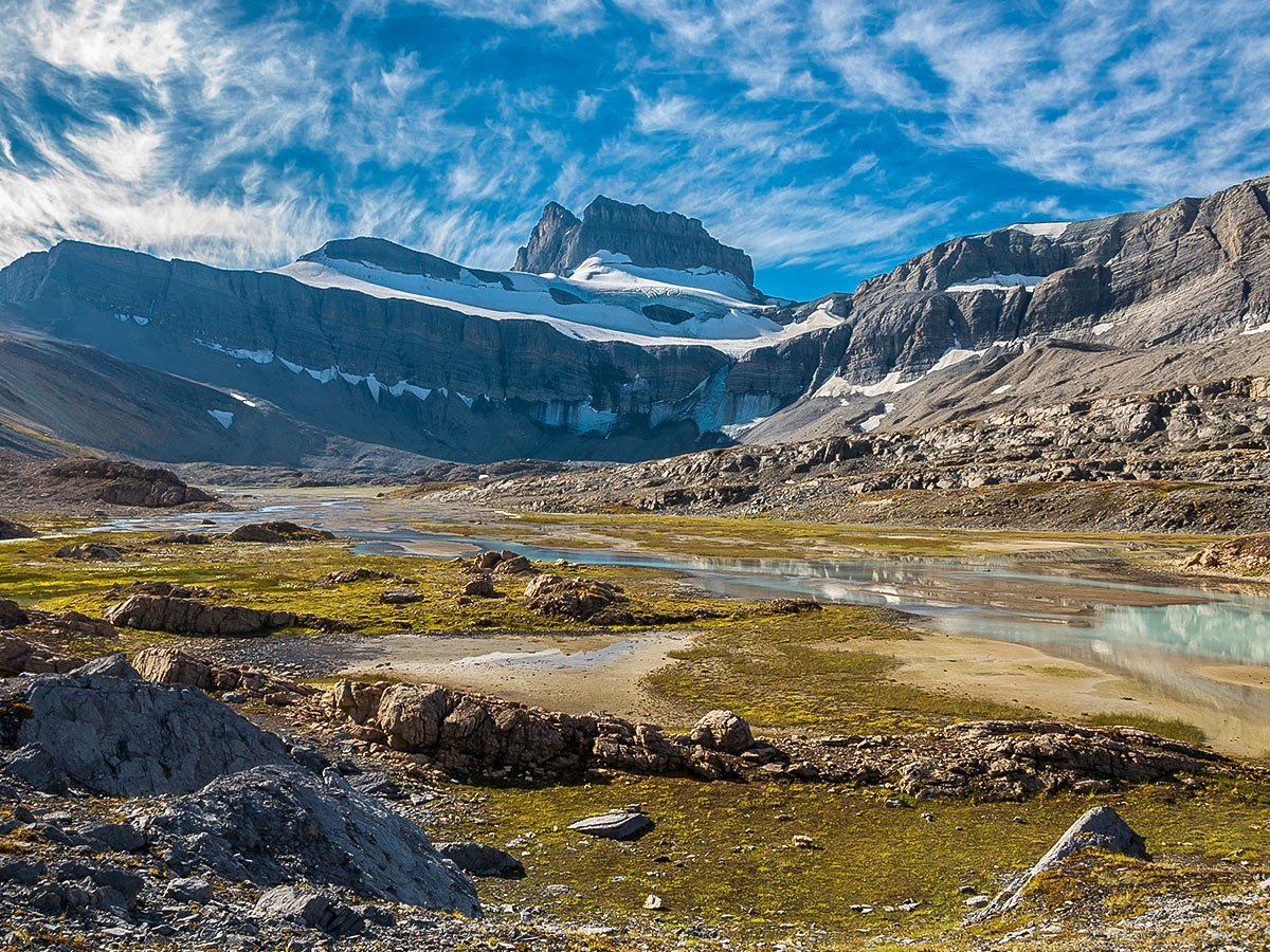 Upper Brazeau River Valley on Nigel, Cataract and Cline Pass backpacking trail in Jasper National Park