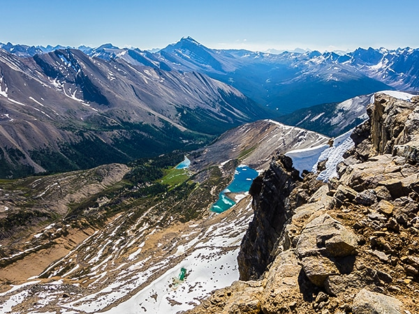 Scenery from Maligne Pass and Replica Peak backpacking trail in Jasper National Park