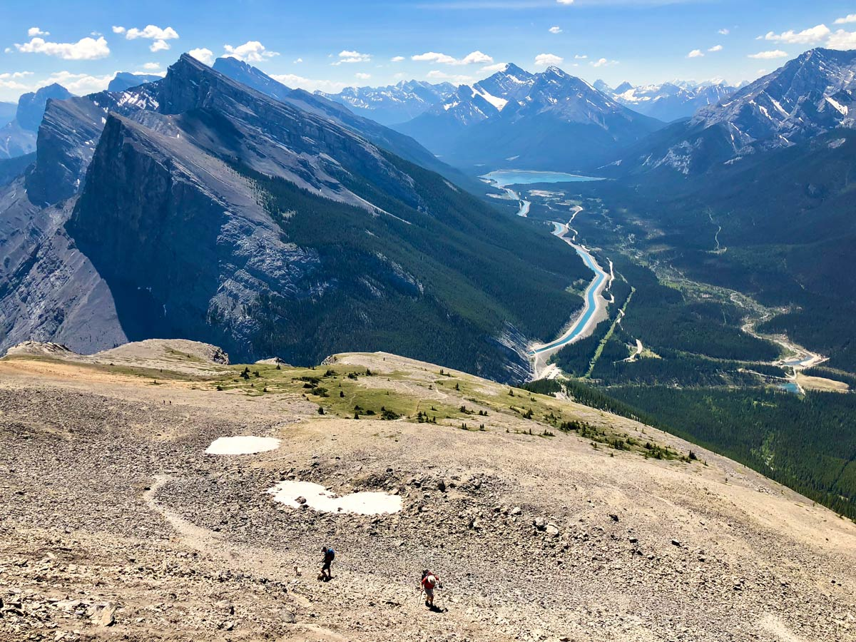 Panoramic views from East End of Rundle Route (EEOR) scramble in Canmore, Alberta