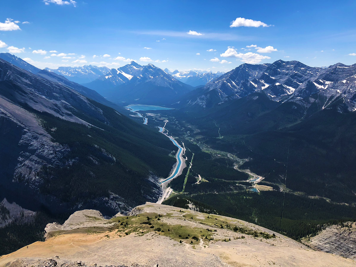 View down the valley from East End of Rundle Route (EEOR) scramble in Canmore, Alberta