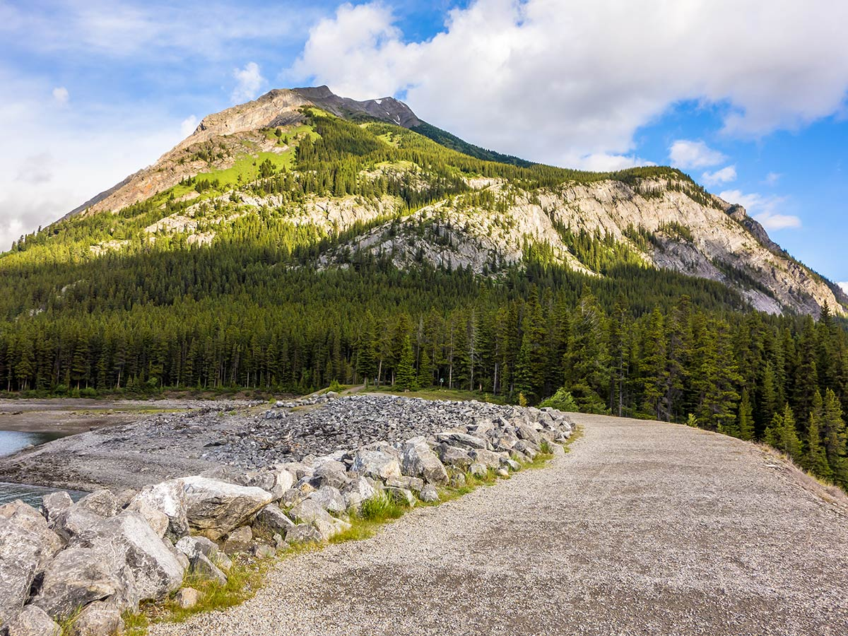 View from the parking lot of Mount Indefatigable - South Peak scramble in Kananaskis near Canmore, the Canadian Rockies