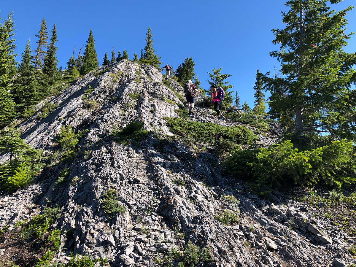 Scrambly part of the hike on Mount Indefatigable - South Peak scramble in Kananaskis near Canmore, the Canadian Rockies
