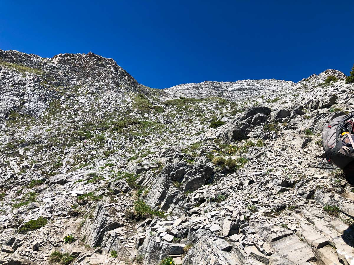 Rocky route of Mount Indefatigable - South Peak scramble in Kananaskis near Canmore, the Canadian Rockies