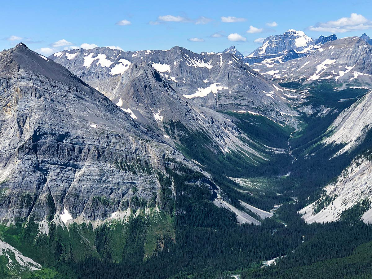 View from the summit of Mount Indefatigable - South Peak scramble in Kananaskis near Canmore, the Canadian Rockies