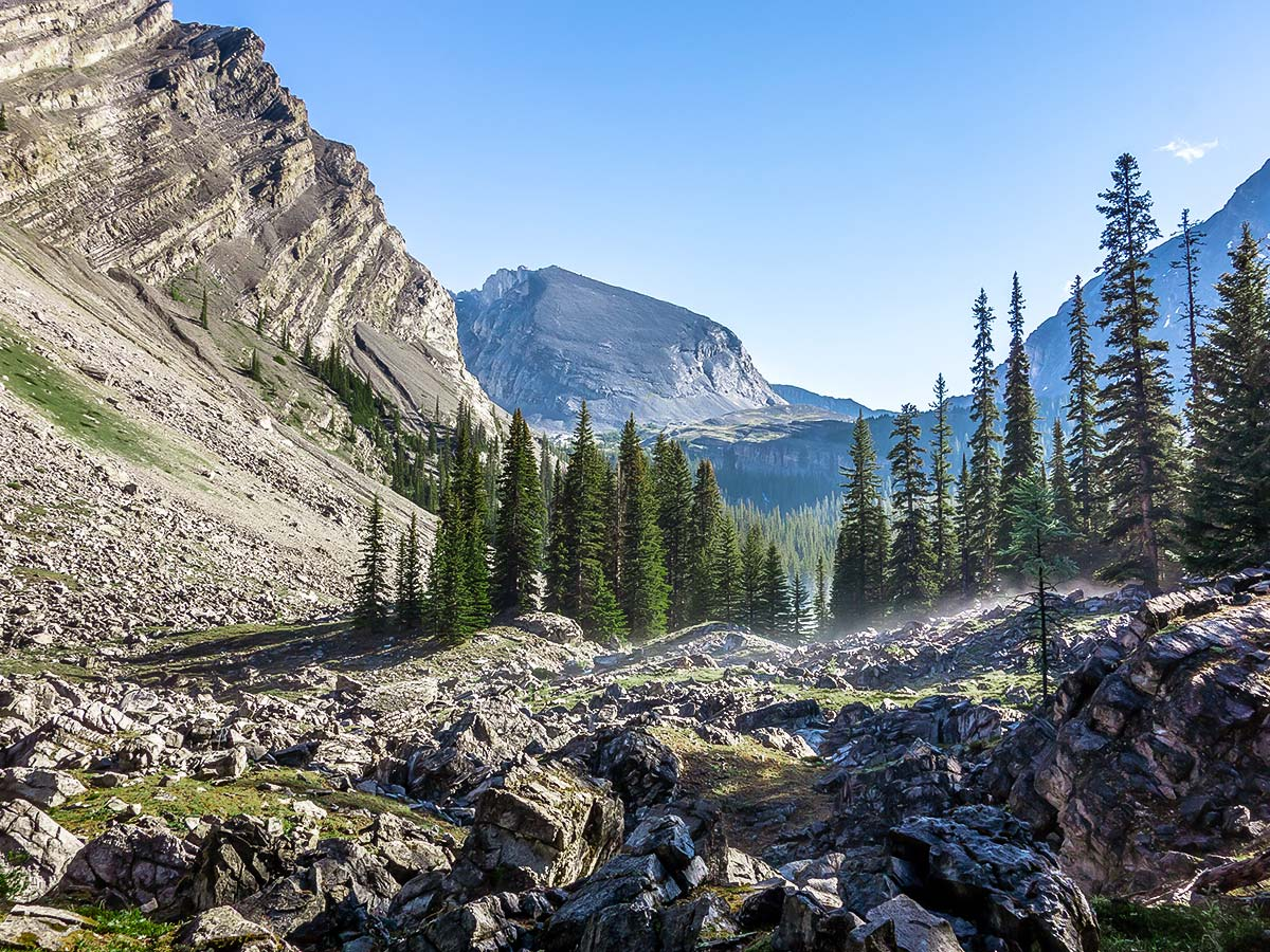 Spectacular view on Mount James Walker scramble in Kananaskis near Canmore, the Canadian Rockies