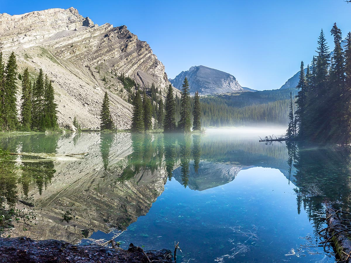 Flooded Pond on Mount James Walker scramble in Kananaskis near Canmore, the Canadian Rockies
