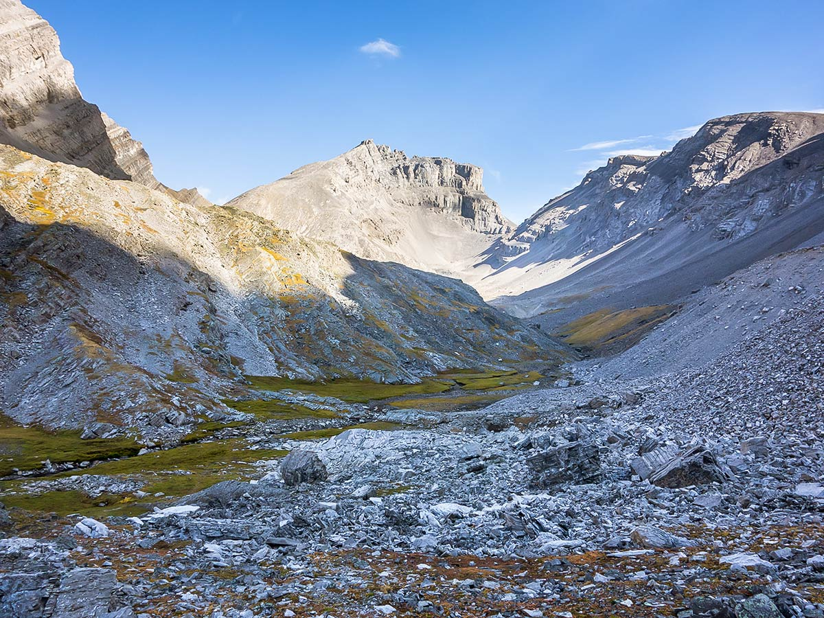 The valley above Upper Headwall Lake on The Fortress scramble in Kananaskis near Canmore, the Canadian Rockies